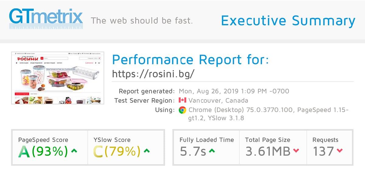 Оптимизация на Opencart онлайн магазин Rosini 3