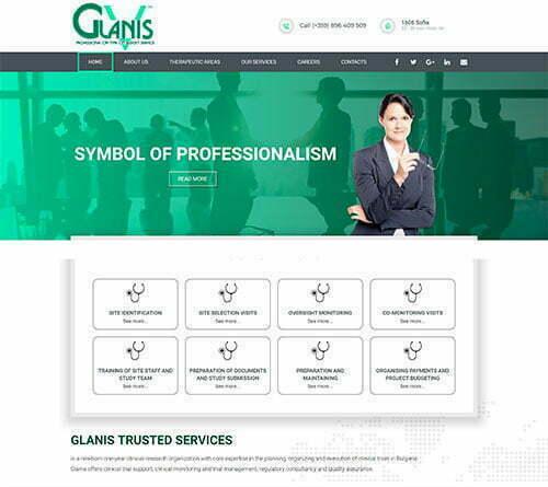 Сайт за консултантски услуги и клинични изследвания в сферата на здравеопазването Glanis