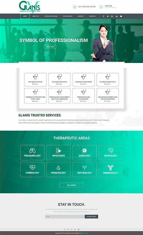 Сайт за консултантски услуги и клинични изследвания в сферата на здравеопазването Glanis 1