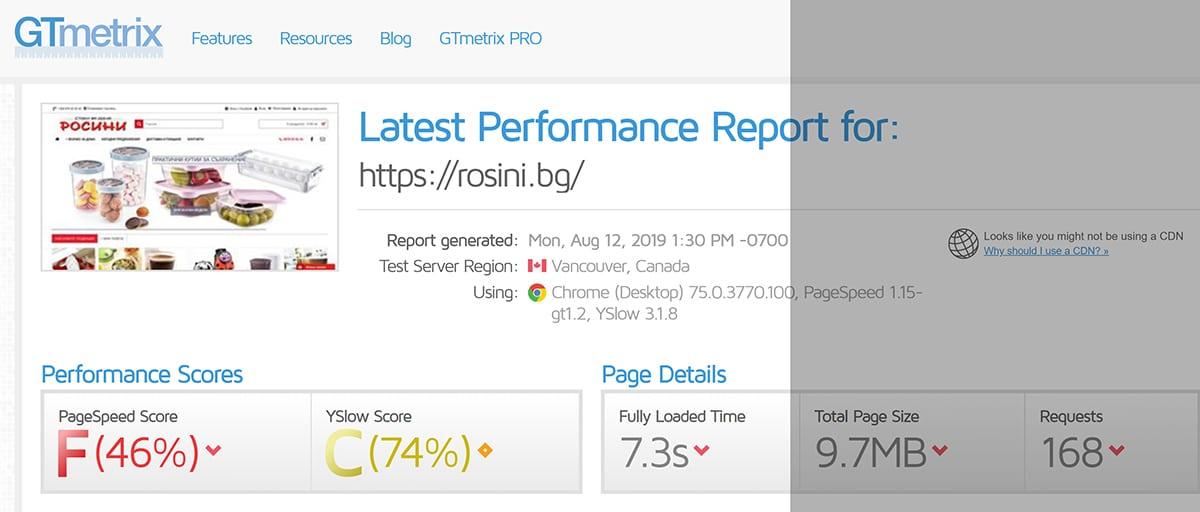 Оптимизация на Opencart онлайн магазин Rosini 1